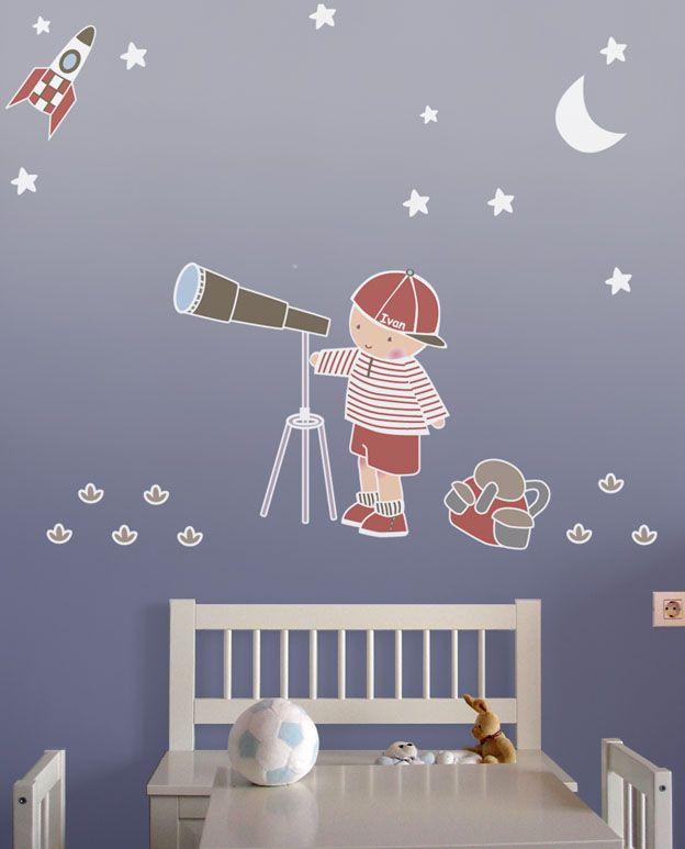 Vinilo infantil ni o y telescopio en habitaci n vinilos for Vinilos habitacion nino