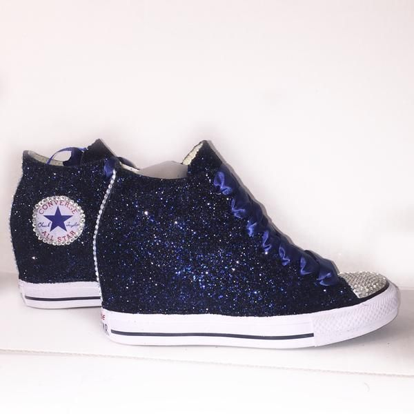 61c11227933b35 Womens Navy Blue Glitter Converse All Stars high top Wedge Heel wedding  bride bridal shoes