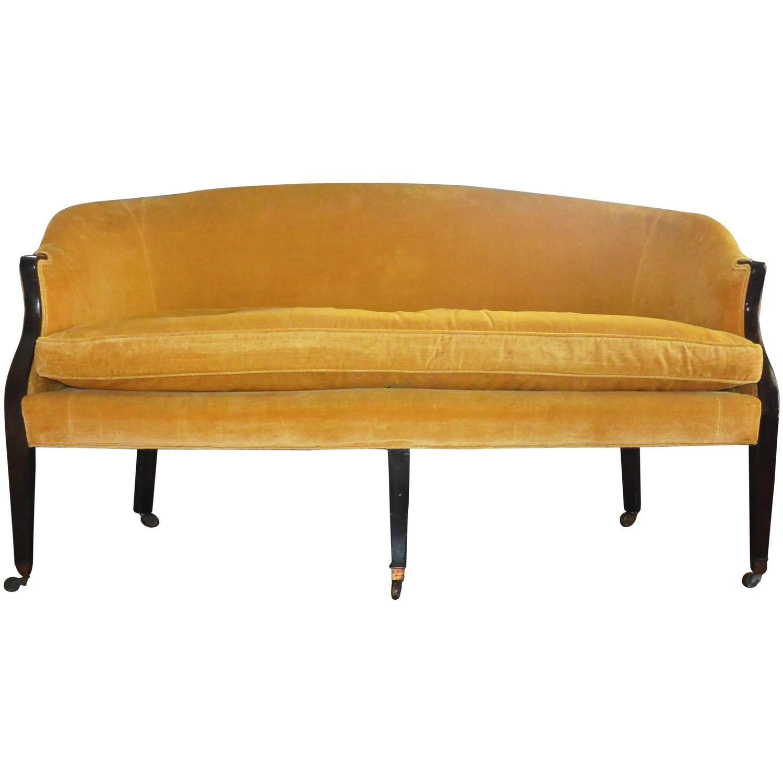 George Iii Period Linen Velvet Sofa In