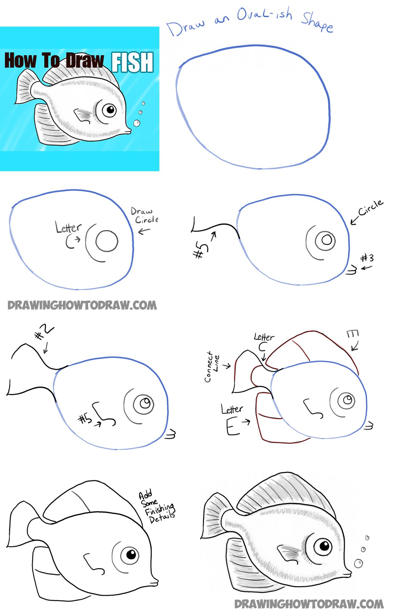 How to draw a cute fish cartoon with simple steps for kids how to draw step by step drawing tutorials