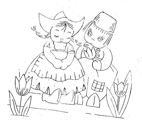 adorable dutch girl and boy embroidery pattern