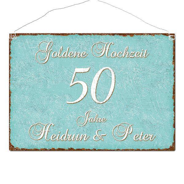 Schild Goldene Hochzeit Und Namen Im Format A3 Türkis