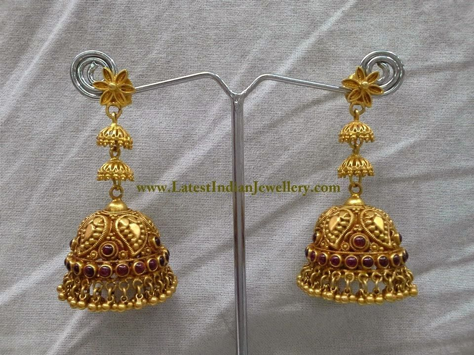 Gorgeous Long Gold Jhumka Earrings | Gold, Indian jewelry and Ear ...