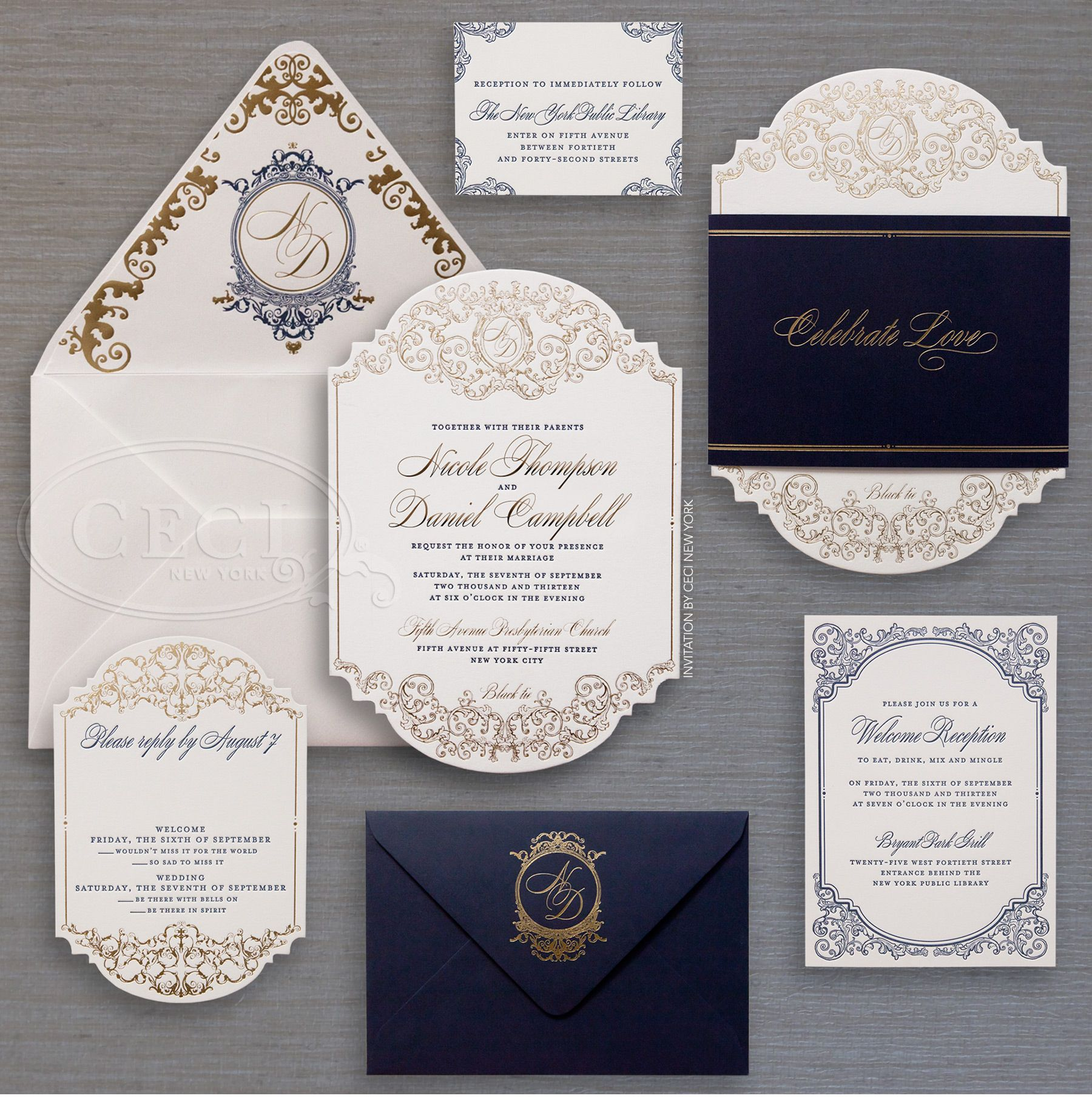 Attractive Luxury Wedding Invitations By Ceci New York   Sophisticated Wedding At The  New York Public Library