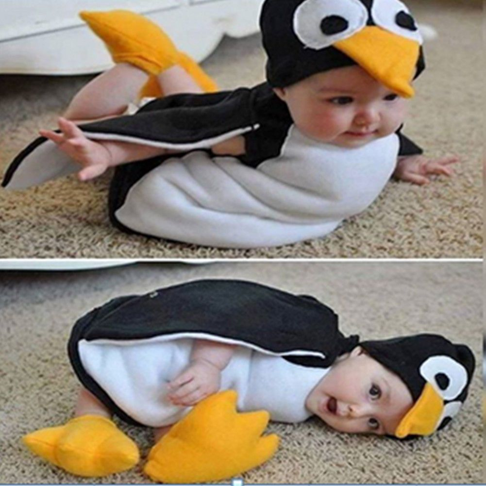 Baby Infant Kids Cosplay Penguin Costume Suit Photography Props Clothes Hat