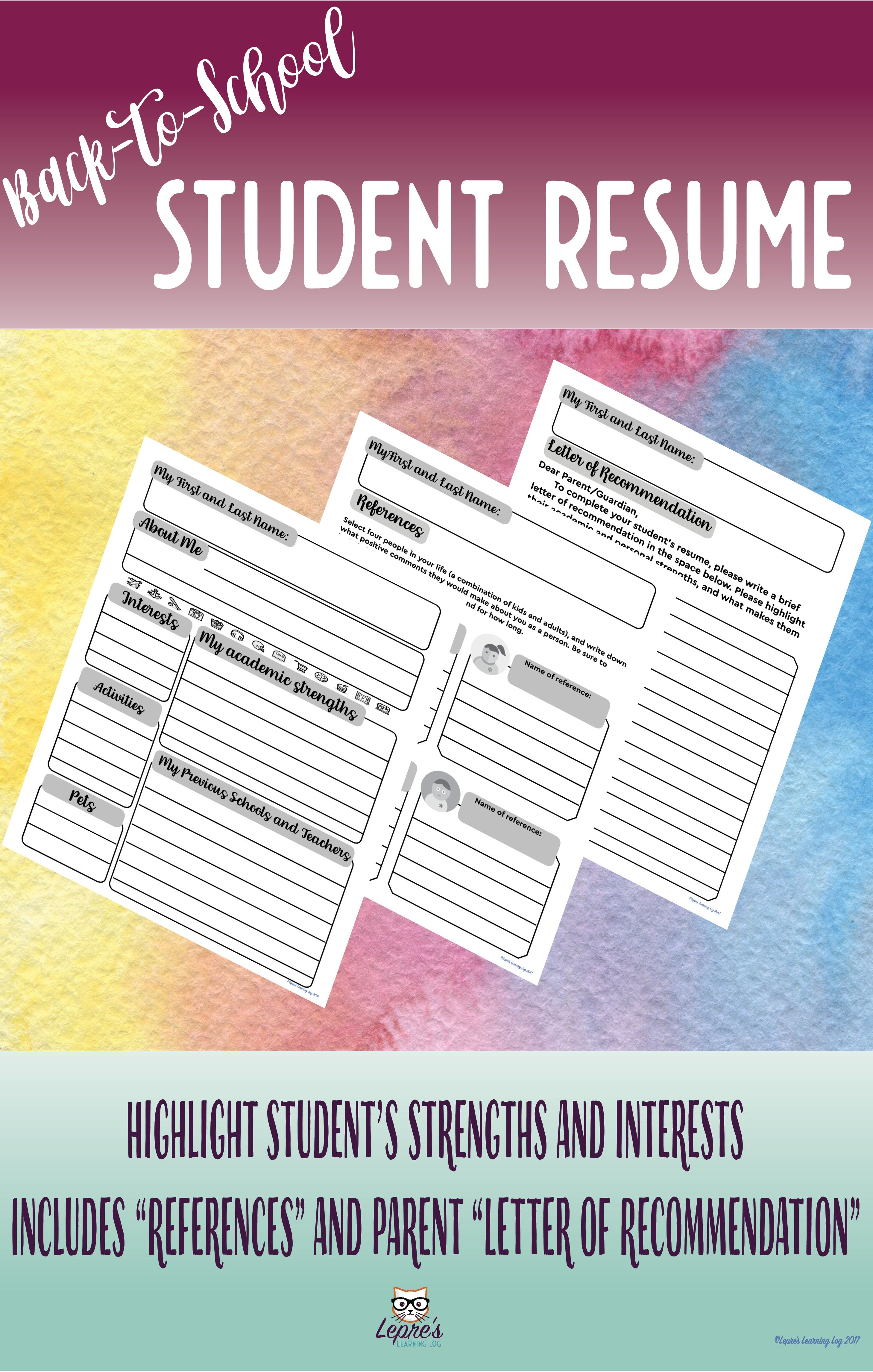 Backtoschool Student Resume perfect for the first day