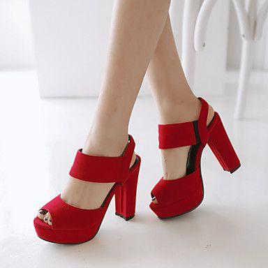 fc82569e Zapatos de mujer - Tacón Robusto - Tacones / Punta Abierta - Sandalias -  Vestido - Semicuero - Negro / Azul / Rojo 2016 - €39.19