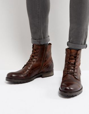0804b2428978 Jack   Jones Orca Leather Lace Up Boots