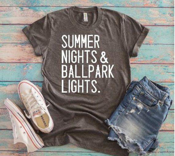 677f1ed9 Summer Nights & Ballpark Lights Baseball T-shirt/Baseball Mom T-Shirt/Football  Mom T-Shirt/Coaches T