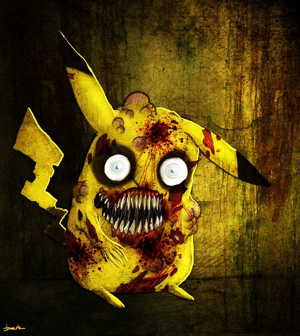 Zombie Pikachu. This makes me think of my niece. Not cuz she's a zombie or anything though...