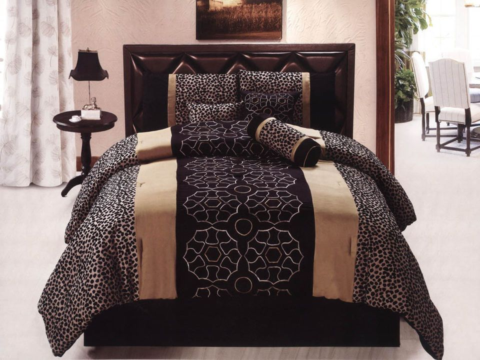 7 Pc Geometric Floral Embroidery Leopard Microsuede Comforter Set