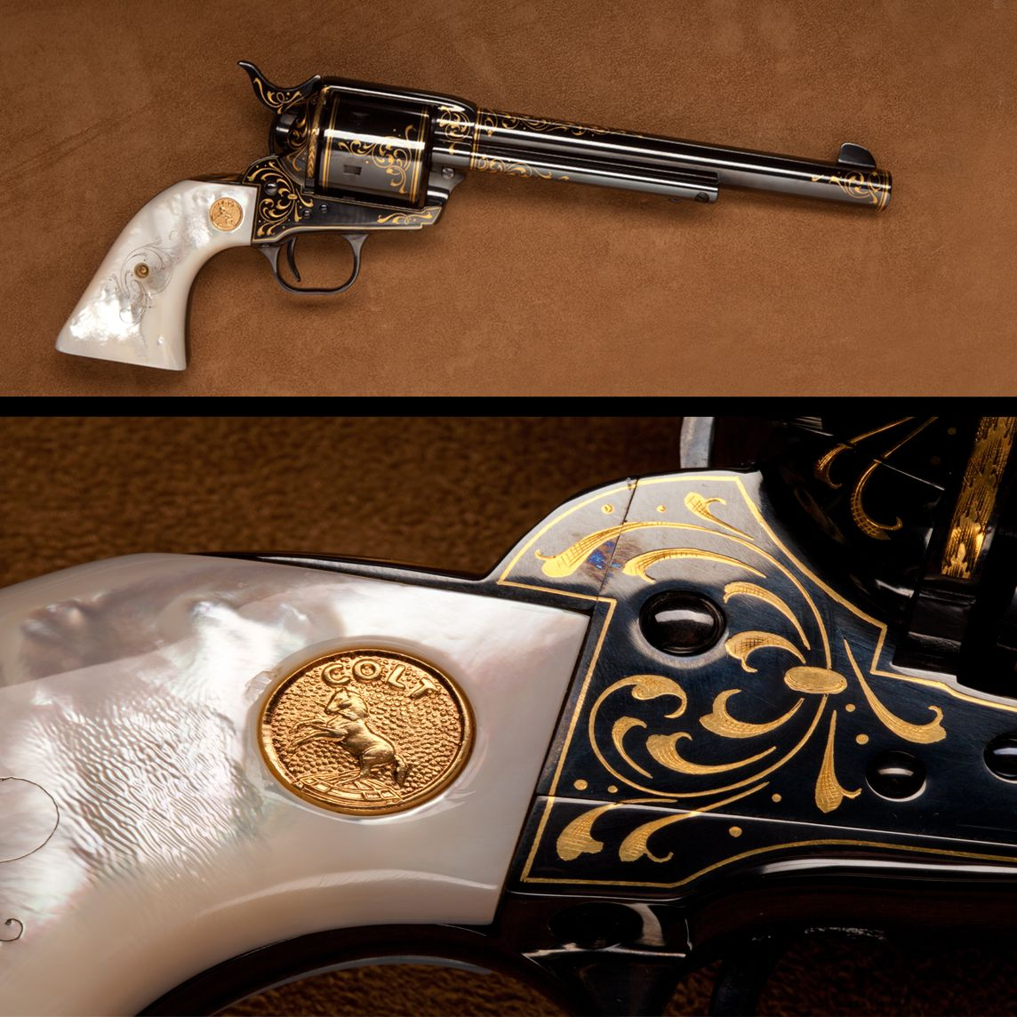 Colt Single Action Army Revolver- Mother-of pearl grips panels/gold