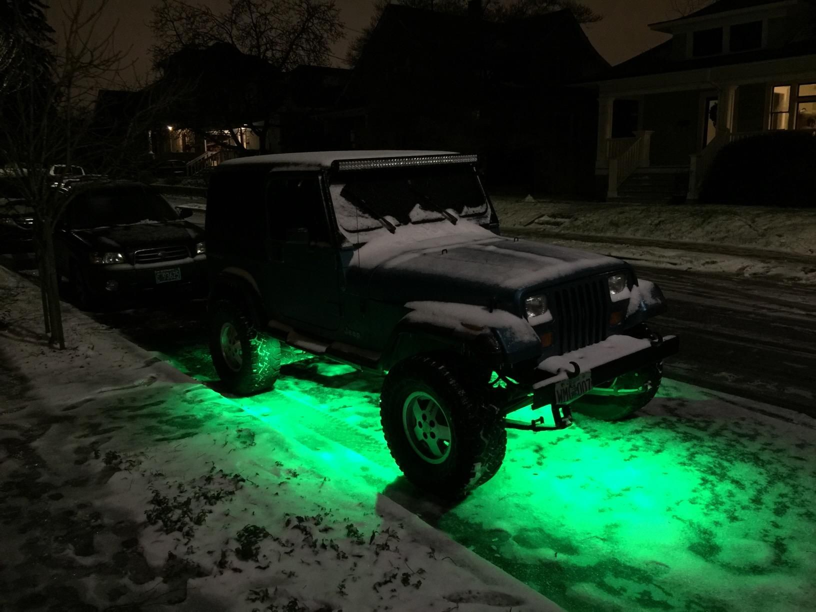 Rock Lights Jeep In Snow With Beautiful Green Led Lights Jeep