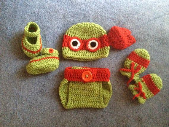 Crochet baby Ninja Turtle outfit | Pinterest