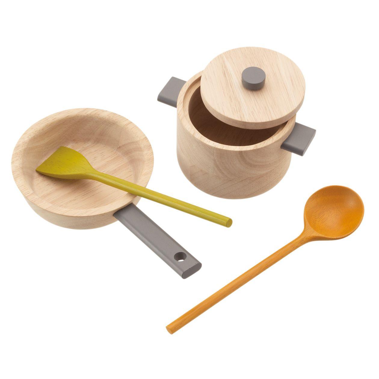 Wooden play pot and pan