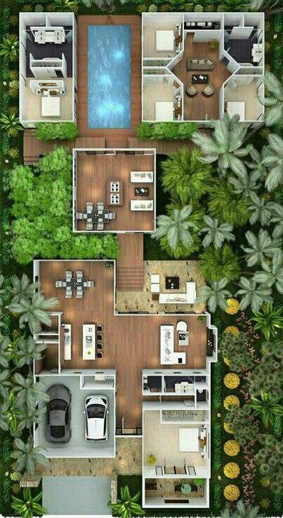 Pin Oleh Zhafar Di House Plans Denah Rumah House Blueprints Arsitektur Hijau