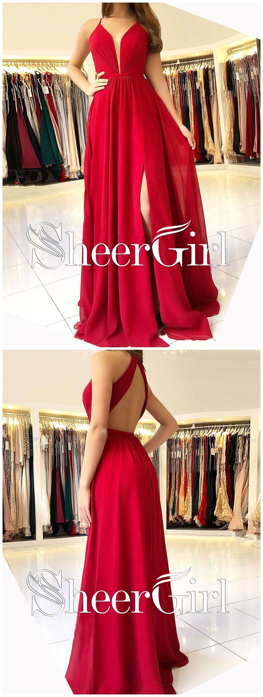 Long chiffon cheap red bridesmaid dress vneck backless prom dresses
