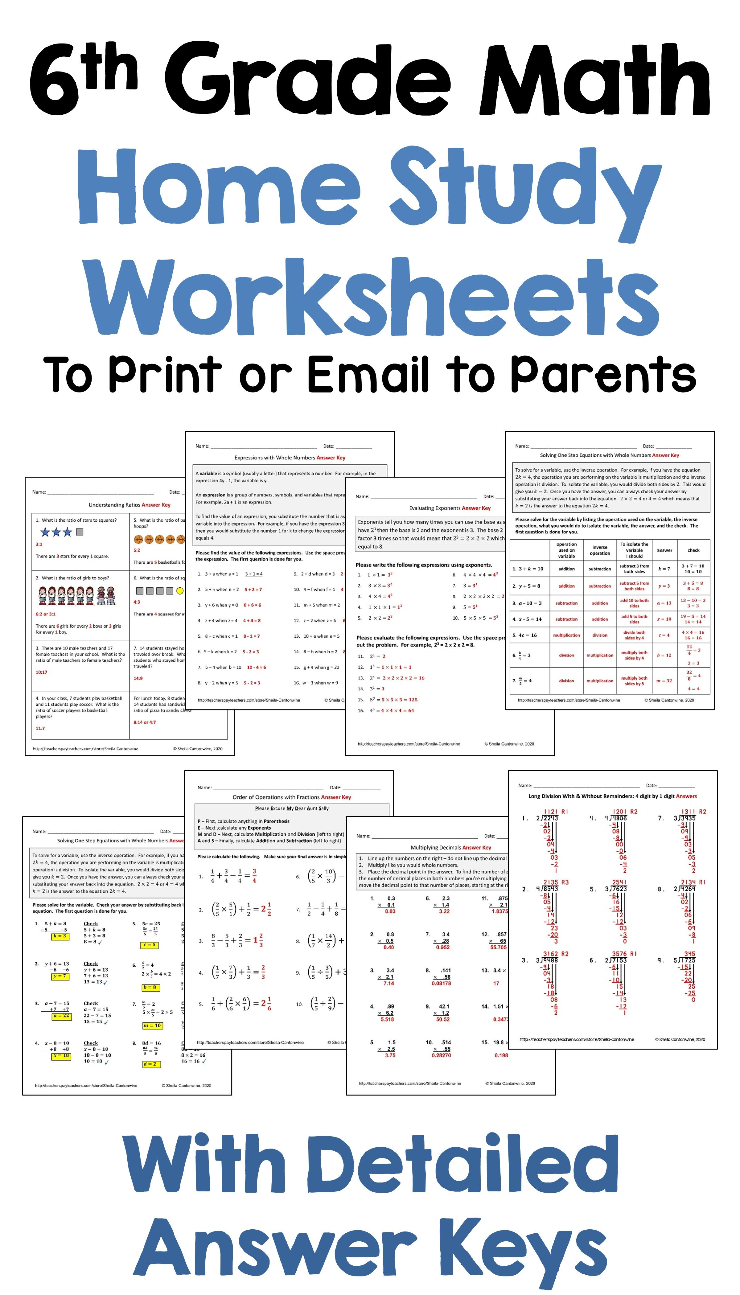 6th Grade Math Home Study Worksheets To Print Or Email To Parents In 2020 Math Word Problems Evaluating Algebraic Expressions