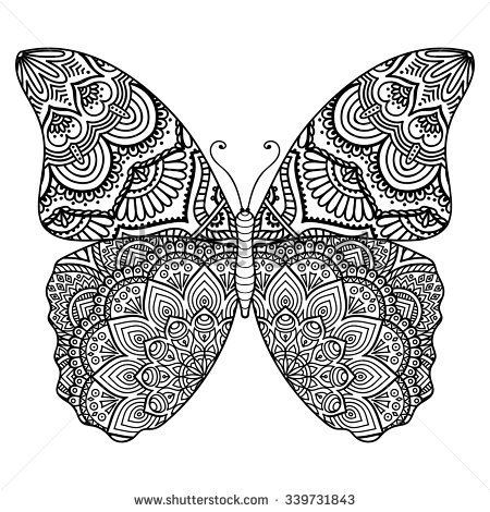Butterfly Vintage Decorative Elements With Mandalas