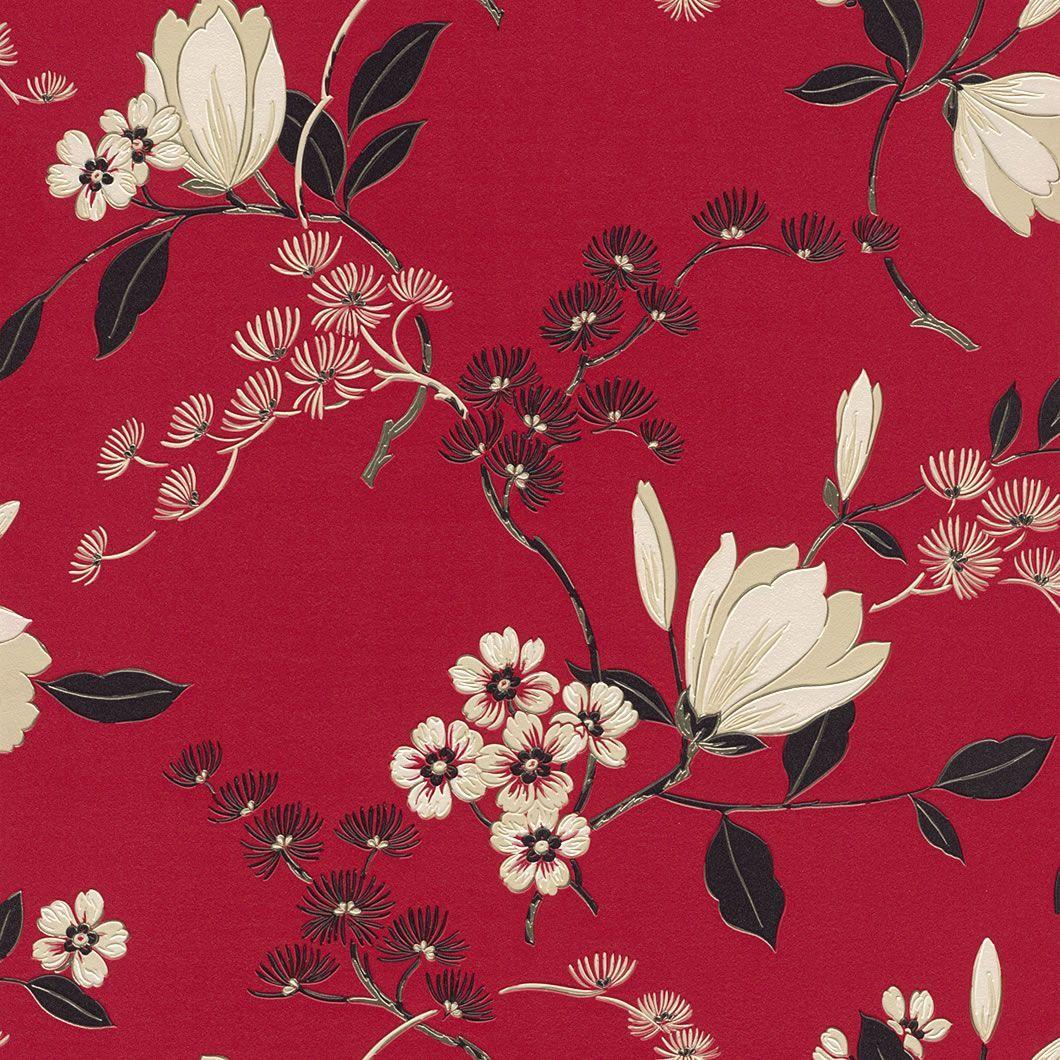 Red / Black / Cream 822519 Oriental Floral Rasch