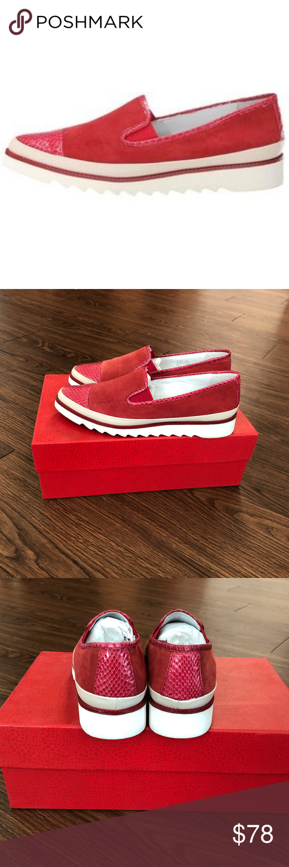 Donald J Pliner Beliz Loafers Size 7 Donald J Pliner Beliz Loafers Size 7 M Color Red Have Been Worn Twice In Clothes Design Printed Leather Fashion Tips