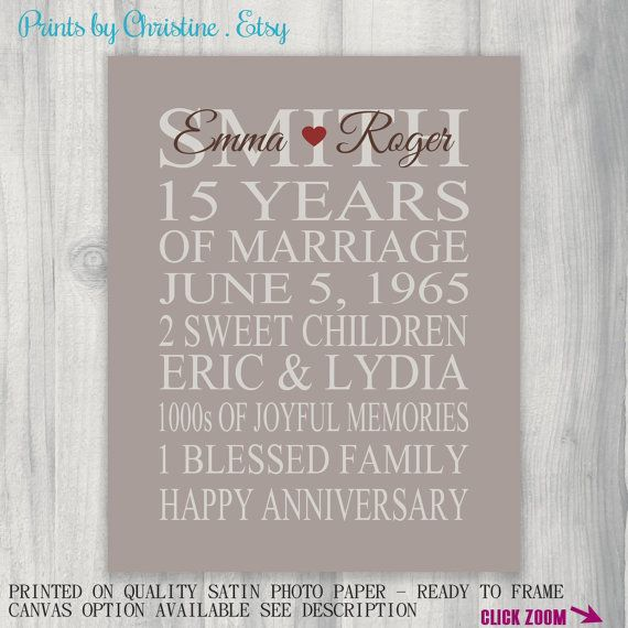 15 Year Wedding Anniversary Sayings: 15 Year Anniversary Gift Print Wedding By