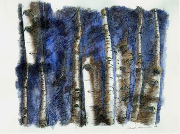 Aspen Eyes 1, 2008, by Carol Hummel (www.carolhummel.com) The eyes of the Aspen trees are beautiful and mysterious. This work on paper is one in a series created during my Colorado Art Ranch residency in Steamboat Springs.