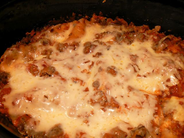 Crockpot Lasagna   Subbed Cottage Cheese For Ricotta And Large Shell Pasta  For Lasagna Noodles