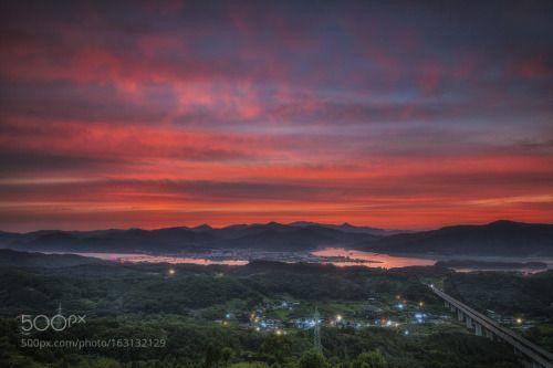Dawn by c1113  sky sunrise morning lake water river travel clouds asia mountain south korea korea 대한민국 한국 Dawn c111