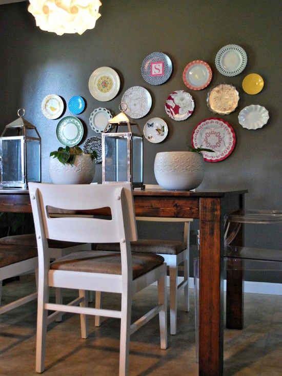 Inspiring Decorative Plates To Hang On Wall Eclectic Dining Room Preppy Plates On The Wall Wood Table White Chairs Gray Wall ~ buymyshitpile.com Decorating ... & Inspiring Decorative Plates To Hang On Wall: Eclectic Dining Room ...