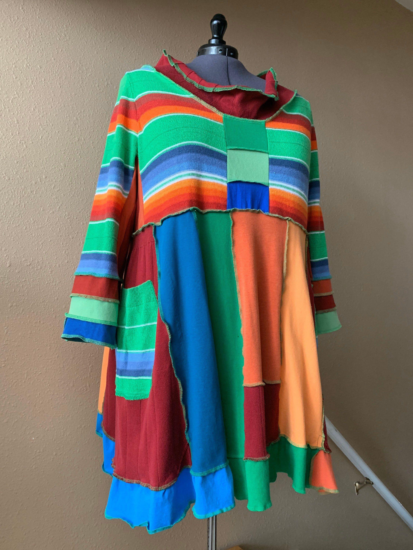 Upcycled clothing Hippie clothes Plus size clothing Plus size boho dress Upcycled womens clothing Boho Bohemian clothing Pastel rainbow dres