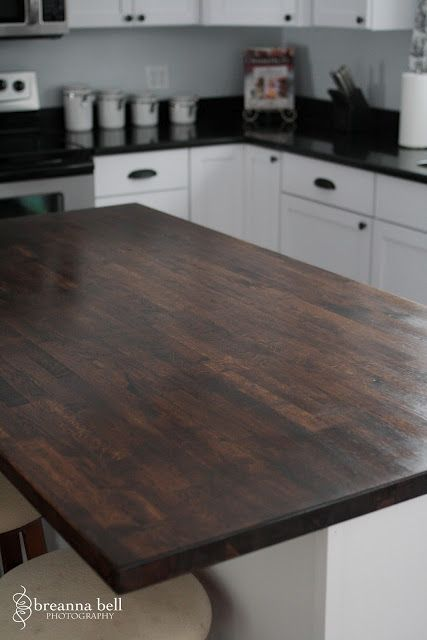 Ikea Butcher Block 200 Sanded And Stained Could Be Used For A Desk Top In Office