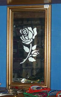 Rose Stencil Etched On Glass Mirror Mrx Designs Glass Etching Etched Mirror Etching