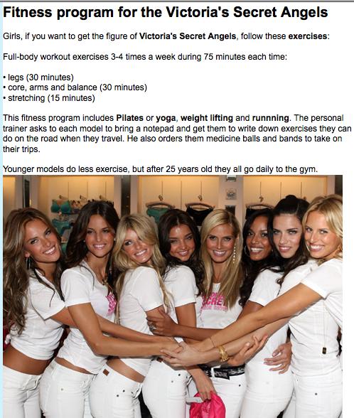 Victoria Secret Diets: Victoria's Secret Models' Diet & Work-Outs (From UK Vogue