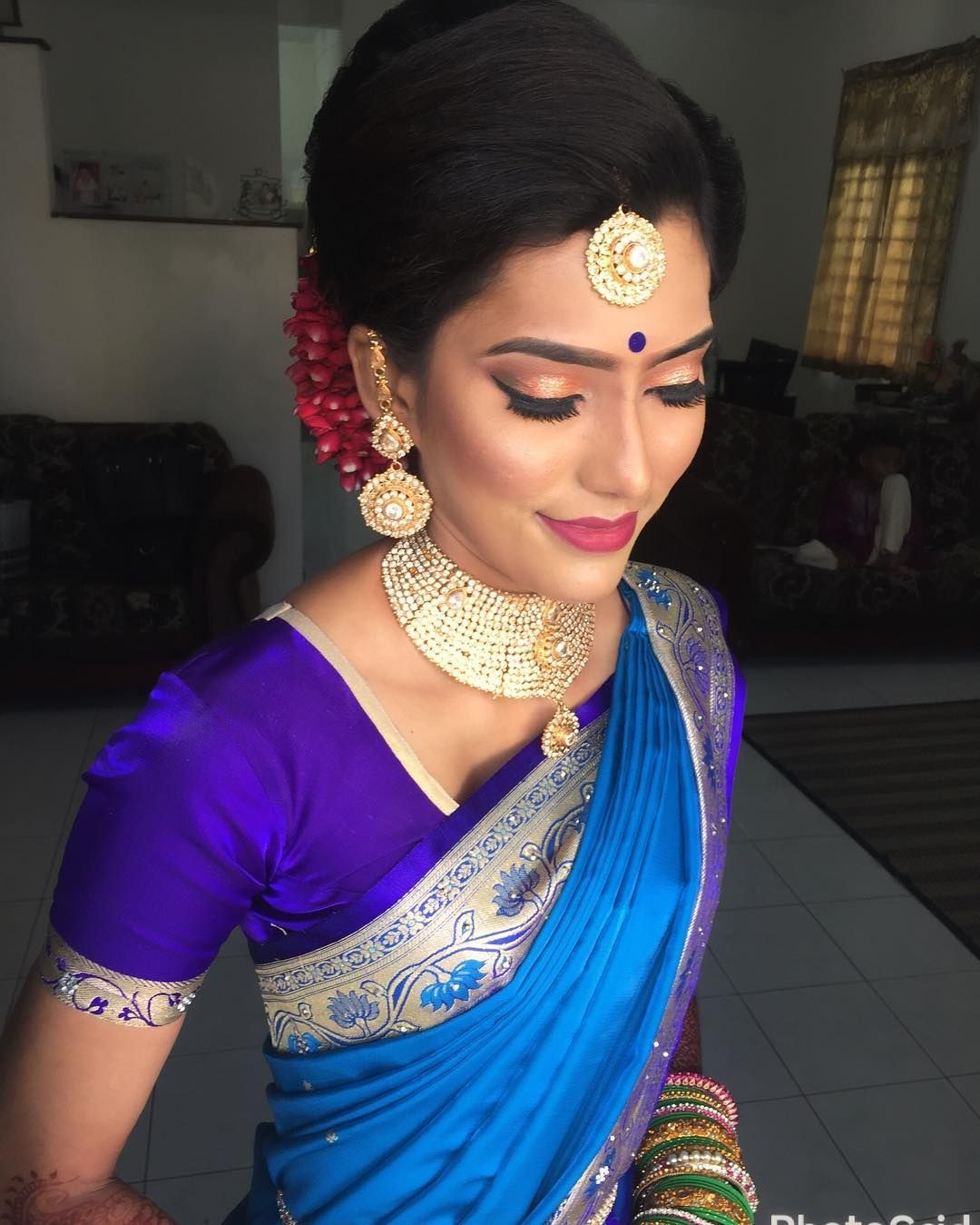 "82 Likes, 1 Comments - Viji Nair (@vijis_beauty) on Instagram: ""Beautiful Devi wedding makeover 1st look #indianstyle #indianbride #indianwedding #makeup…"""