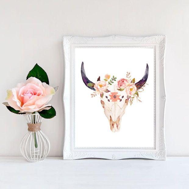 Boho Printable Decor Room Cow Skull Print Southwestern Art Gift