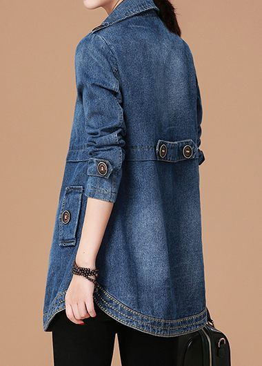 Long Sleeve Button Detail Pocket Denim Coat | Rotita.com - USD $39.71