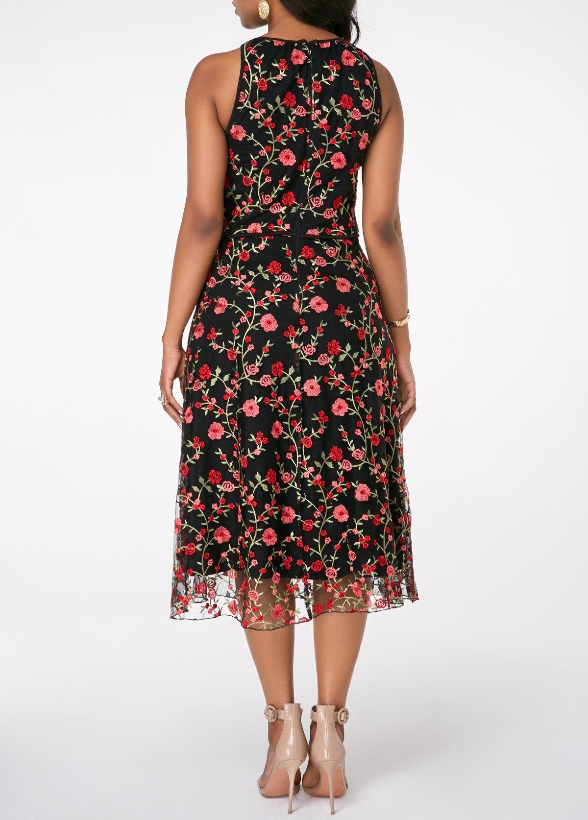 Mesh Patchwork Embroidered High Waist Dress Rosewe Com Usd 39 30 [ 1674 x 1200 Pixel ]