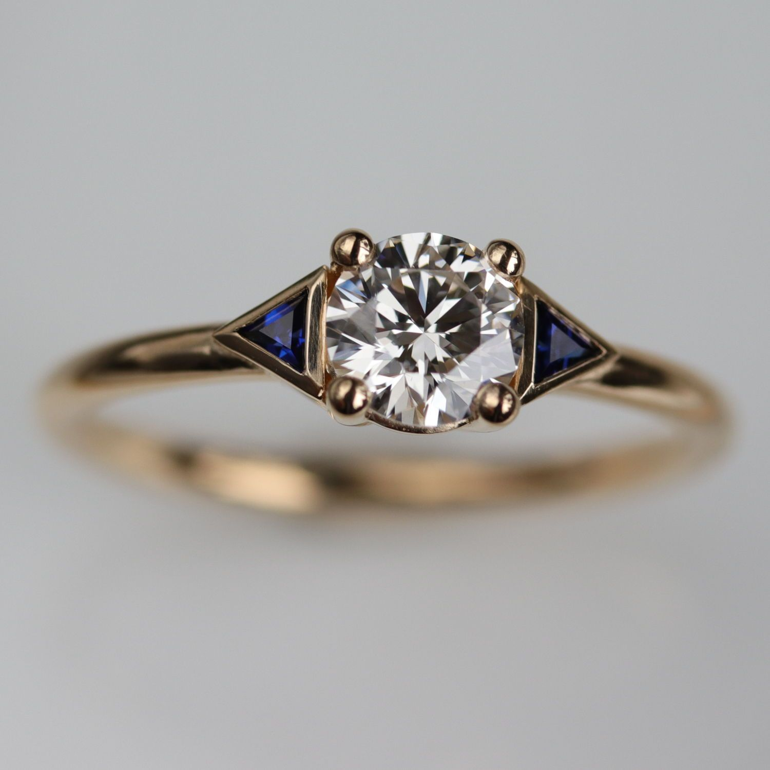 Green Sapphire /& Diamond Ring Set in Yellow Gold Plated Silver With Satin Finish