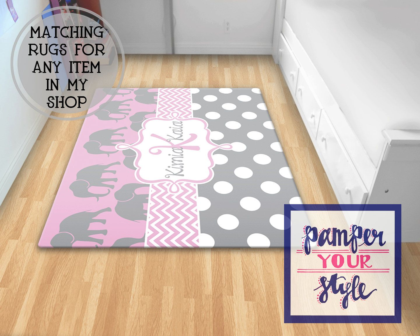 Elephant Area Rug Custom Nursery