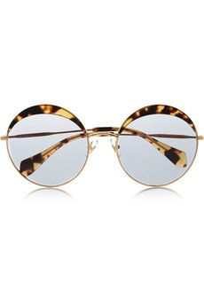 56f46d12cbf7 Miu Miu Round-frame acetate and metal sunglasses
