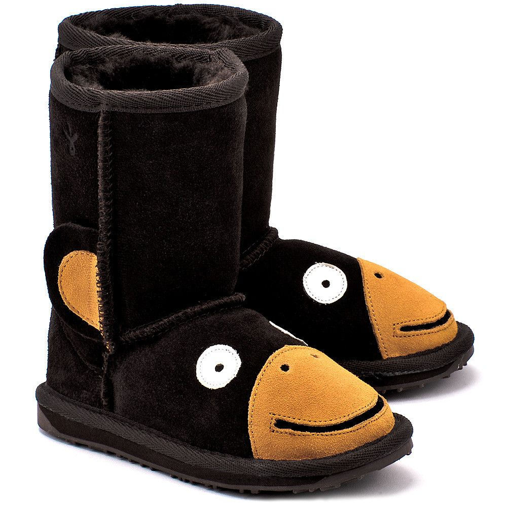 Emu Little Creatures Monkey Chocolate Czekoladowe Zamszowe Kozaki Dzieciece Buty Dzieci Kozaki Mivo Boots Bearpaw Boots Uggs