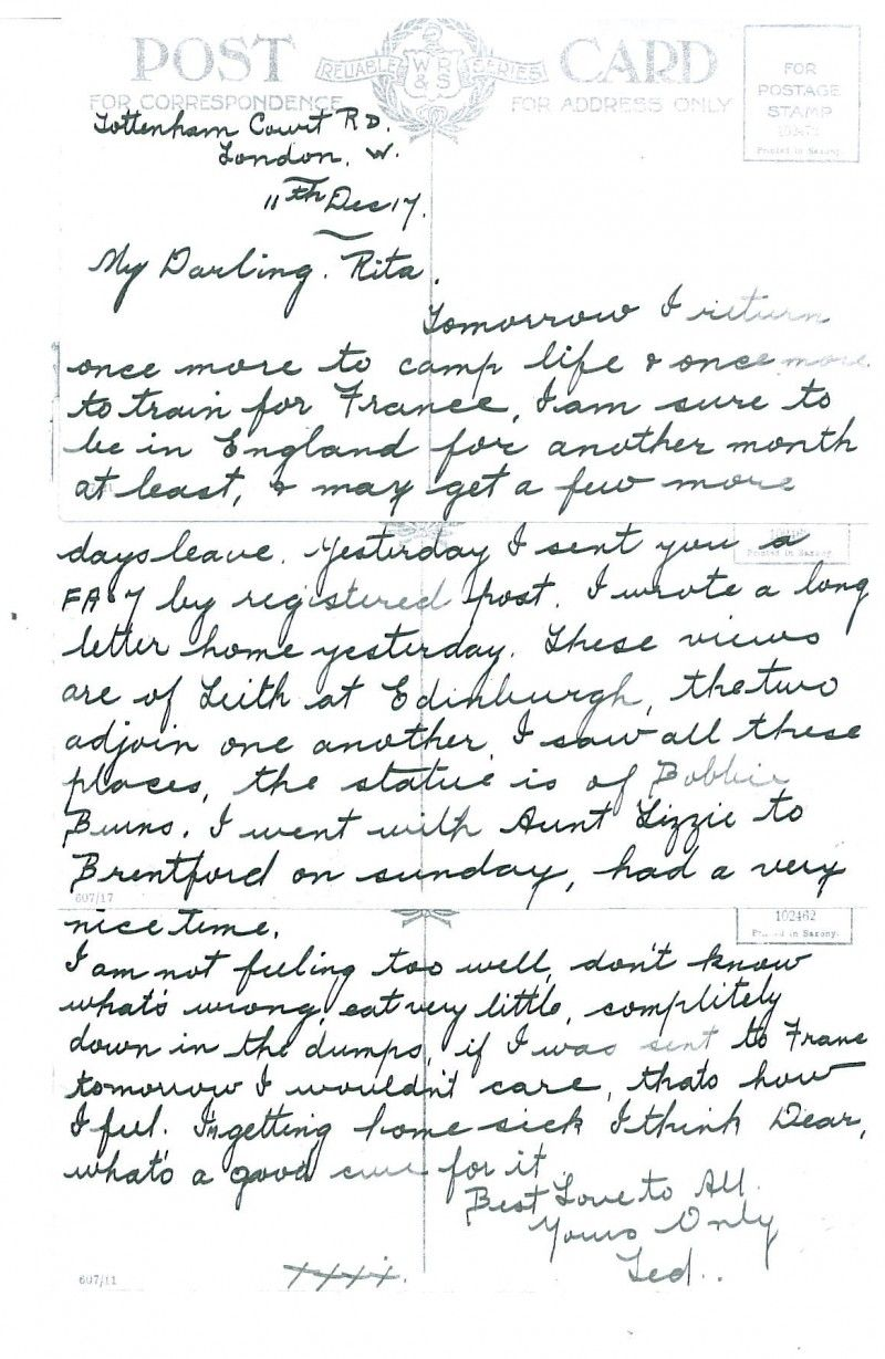 A soldier's sad letter to his girlfriend, 1917.  Edward Jarrett tells his girlfriend that he will be soon going to France. It is a sad letter; he is feeling miserable and just wants to come home. #Letter