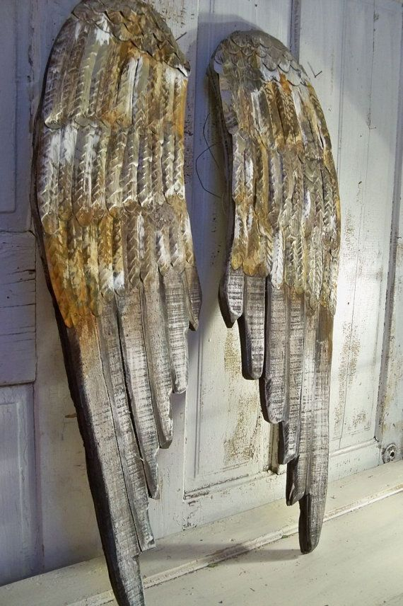 Angel wings large wood carved wall sculpture pewter rusty metal distressed  white paint french decor shabby accents home decor Anita Spero
