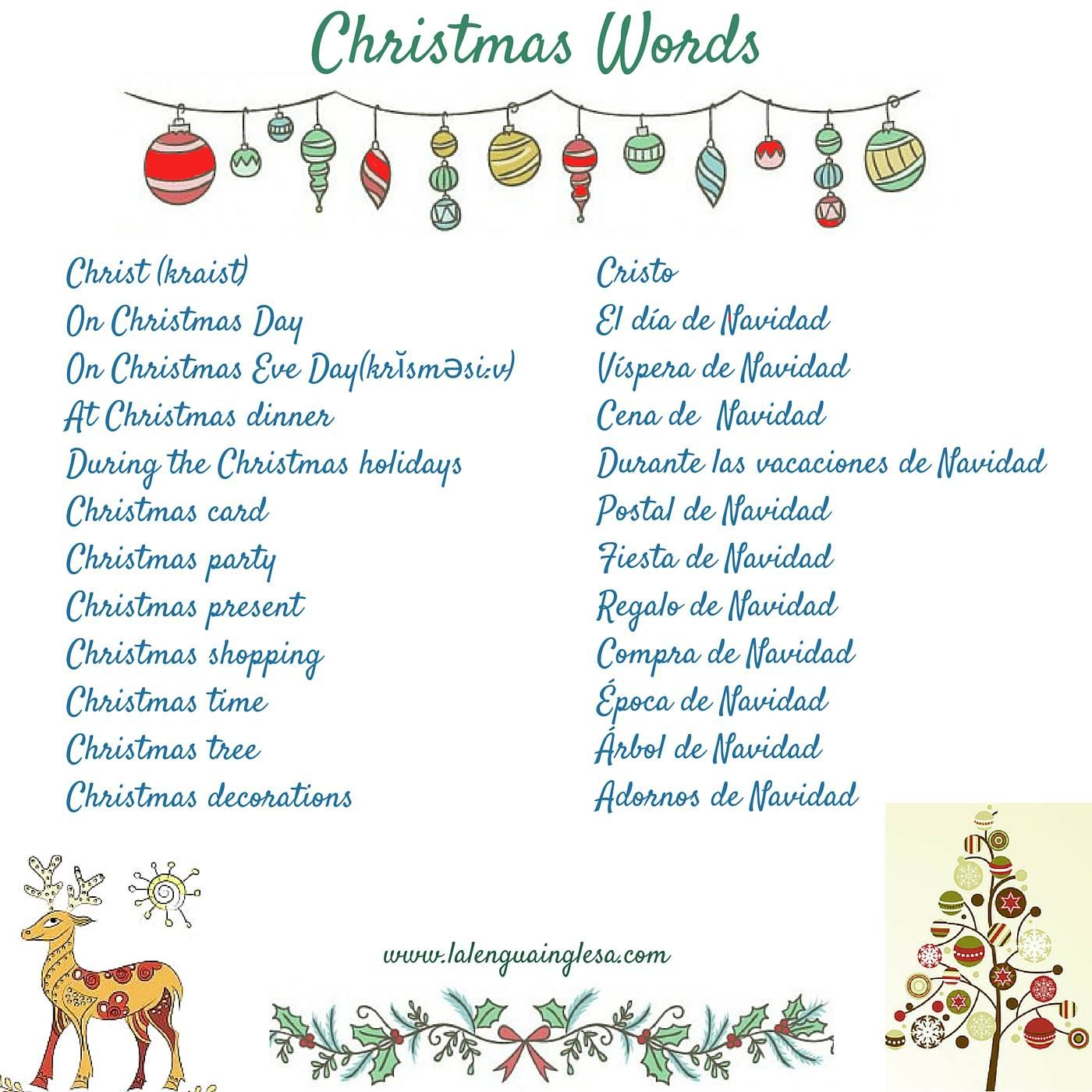 Inglés #Vocabulario # Vocabulary # Chrismast Words ...