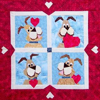 Valentine Dog Paper-Pieced Quilt Pattern at Paper Panache | Quilt ... : valentine quilt patterns - Adamdwight.com