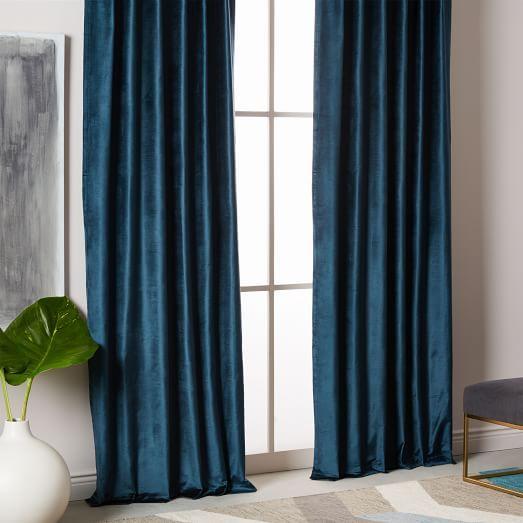 Cotton Luster Velvet Curtain Regal Blue Blue Velvet Curtains