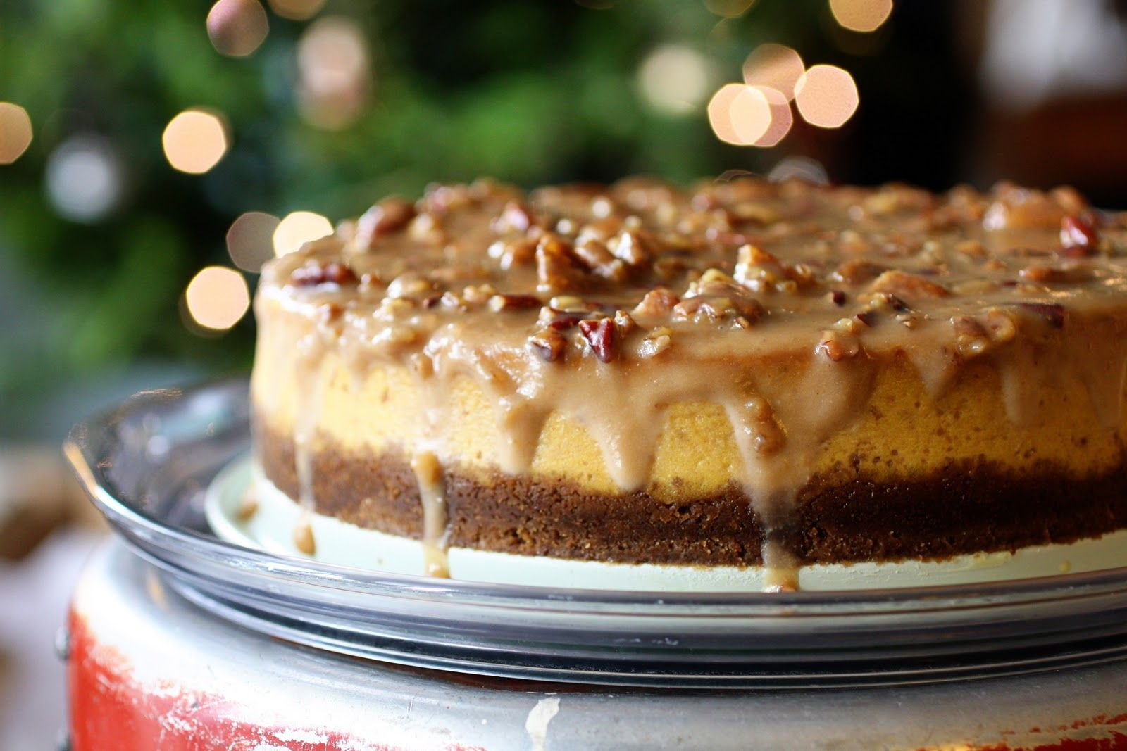 Pumpkin Cheesecake With Gingersnap Crust And Praline
