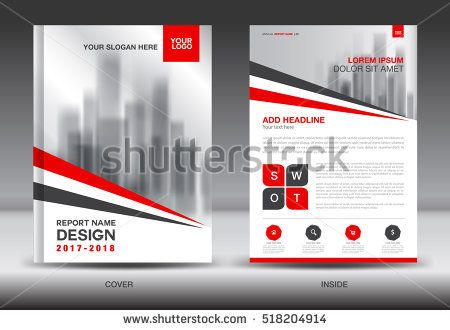 Red Cover Annual report brochure flyer template creative design - advertisement brochure