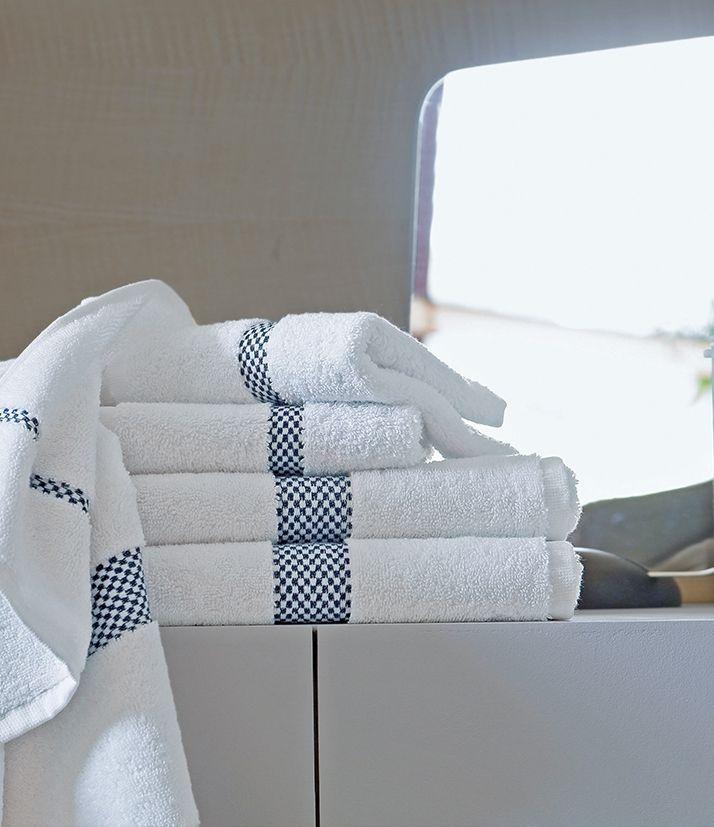 Linge De Toilette Blanc Des Vosges Dominos Navy Linge De Toilette Drap De Bain Linge De Bain